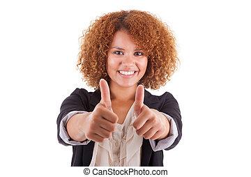 の上, 女性ビジネス, 人々, -, 若い, 隔離された, アメリカ人, 黒, 親指, 背景, アフリカ, 肖像画, 白