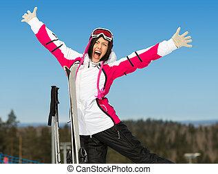 の上, 女性手, 肖像画, 半分長さ, スキーヤー
