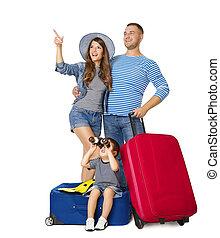 の上, 家族, 指すこと, 手荷物, 上に, 人々, 隔離された, の上, 見る, 手荷物, 休暇, 背景, 子供, スーツケース, 白, 旅行, 両眼用である