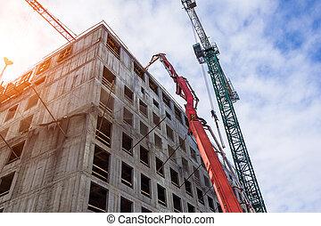 の上, 床, cranes., truck., 矢, ビューの下で, たたきつける, 建物 構造, ミキサー, 上部, 助け, コンクリート
