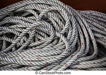 の上, 手ざわり, ロープ, 終わり, 線, ボート