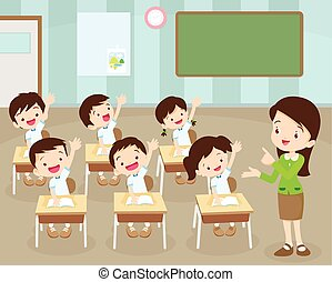 の上, 手, 生徒, 教室