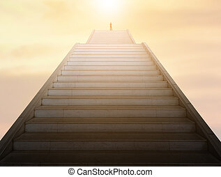 の上, 概念, 階段, ビジネス, 成功した, 行く
