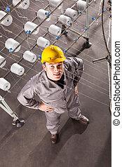の上, 織物工場, 見る, 労働者