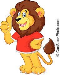 の上, 親指, かわいい, 漫画, ライオン, 寄付