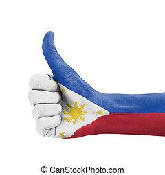の上, 親指, ペイントされた, フィリピン, 手, 旗