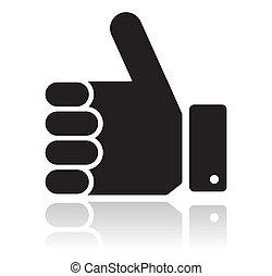 の上, 黒, 親指, グロッシー, アイコン