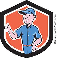 の上, handyman, 修理人, 漫画, 親指