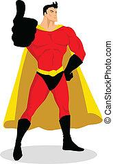 の上, superhero, 親指