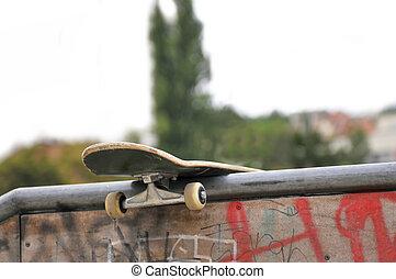 の後ろ, スケート公園, 板, 左
