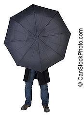 の後ろ, 人, 傘, 隠ぺい