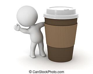 の後ろ, 特徴, カップ, 振ること, コーヒー, 3d