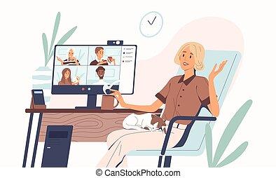 の間, スタイル, 持つこと, 友人, 企業である, ベクトル, 遠い, 漫画, 平ら, 呼出し, 若い, online., テレビ会議, quarantine., 女性の話すこと, discussion., チームワーク, ビデオ, イラスト, 概念, 同僚。