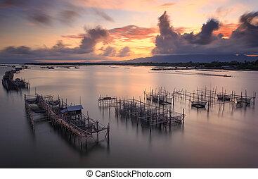 の間, ネット釣り, 日の出