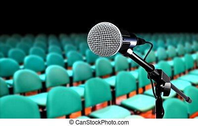 の間, マイクロフォン, プレゼンテーション, セミナー, 講堂