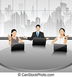の間, ミーティング, ビジネス 人々
