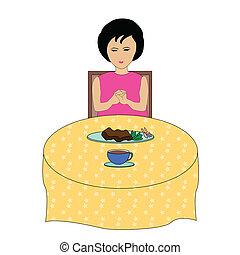 の間, 女の子, 祈ること, 昼食