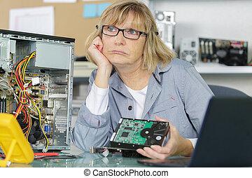 の間, 技術, 女, パニック