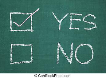 はい, ∥あるいは∥, いいえ, 2, 選択, 書かれた, 上に, ∥, 黒板