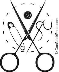 はさみ, 糸, スプール, 針, シルエット