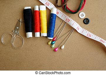 はさみ, 糸, 木製である, 裁縫, 針, 背景, 道具