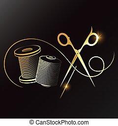 はさみ, 金, シンボル, 縫糸, 針