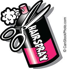 はさみ, hairspray のびん