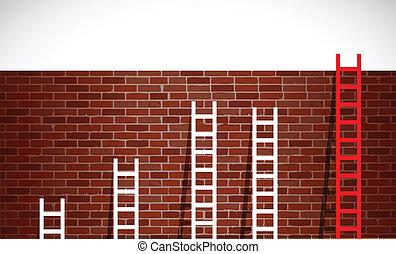 はしご, れんが, セット, イラスト, wall.