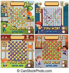 はしご, セット, ゲームボード, ヘビ