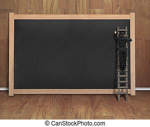 はしご, ブランク, 黒, 黒板, ビジネスマン, 上昇, 図画