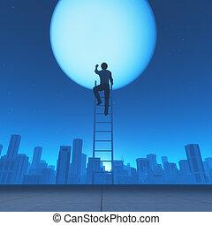 はしご, 人, 上昇, 月