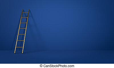 はしご, 概念, wall., インスピレーシヨン, 段ばしご, 3d, illustration., 傾倒, 金, 青...