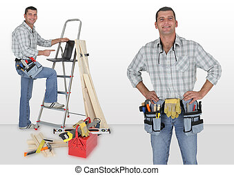 はしご, 立った, 大工