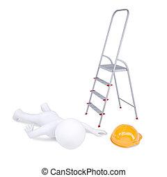 はしご, 落ちた, 離れて, 人間, 3d