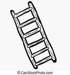 はしご, 黒, freehand, 引かれる, 白, 漫画