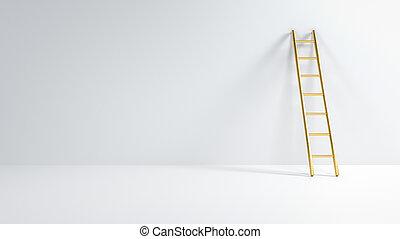 はしご, 3d, インスピレーシヨン, 段ばしご, illustration., 傾倒, 部屋, 金, 空, ....