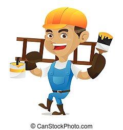 はしご, handyman, ペンキ, 届く, ブラシ, 保有物