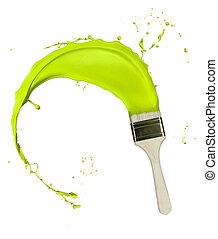 はねかけること, 隔離された, ペンキ, 緑の背景, brush., 白