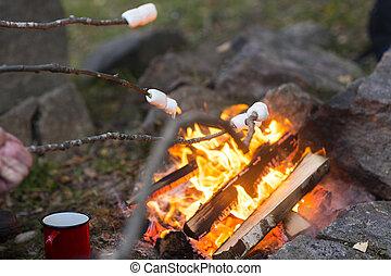 はり付く, キャンプ, 火, 上に, 焼かれた, マシュマロ