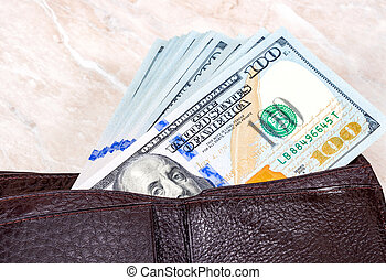 はり付く, 百ドル, 1(人・つ), 札入れ, アメリカ人, ビルズ, 開いた, から