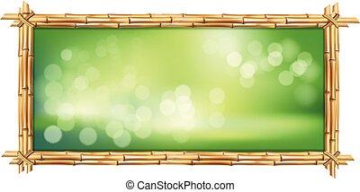 はり付く, 長方形, 背景, ボーダー, bokeh, 緑, 竹, フレーム
