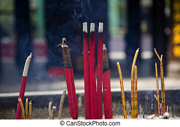 はり付く, baoguang, tem, 仏教, 照ること, 宝物, 喫煙, si, incense