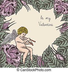 ばら, カード, キューピッド, バレンタイン