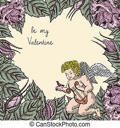 ばら, キューピッド, 鳥, カード, バレンタイン