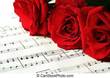 ばら, シート, 赤, 音楽