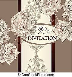 ばら, デザイン, カード, 招待