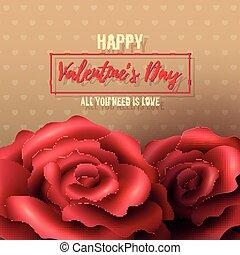 ばら, バレンタインデー, 背景, 赤