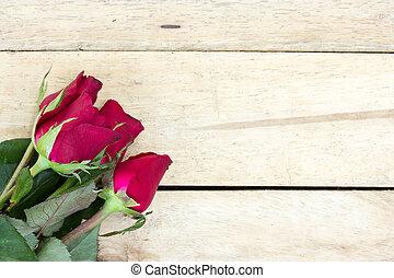 ばら, バレンタイン, 手ざわり, バックグラウンド。, 木, 背景, 日, 赤