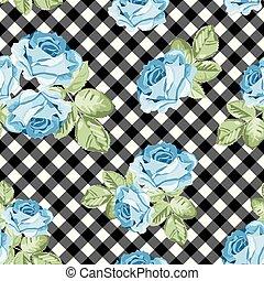 ばら, パターン, ギンガム, seamless, イラスト, バックグラウンド。, ベクトル, 黒, 白, chequered