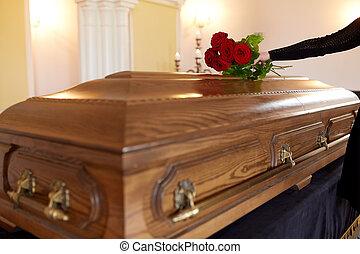 ばら, 棺, 葬式, 赤, 女